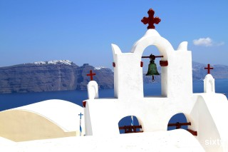 The magical Santorini island in Greece Kima Villas an Orthodox Greek Church with Caldera View