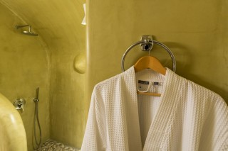 luxurious santorini suites kima villa bathroom robes for the cycladic shower