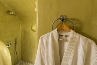 luxurious santorini suites kima villa bathroom robes for the cycladic shower