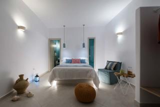 luxurious santorini suites kima villa minimal double bedroom with pillows