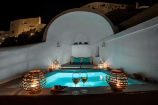 luxurious santorini superior cave suites kima villa jacuzzi by night